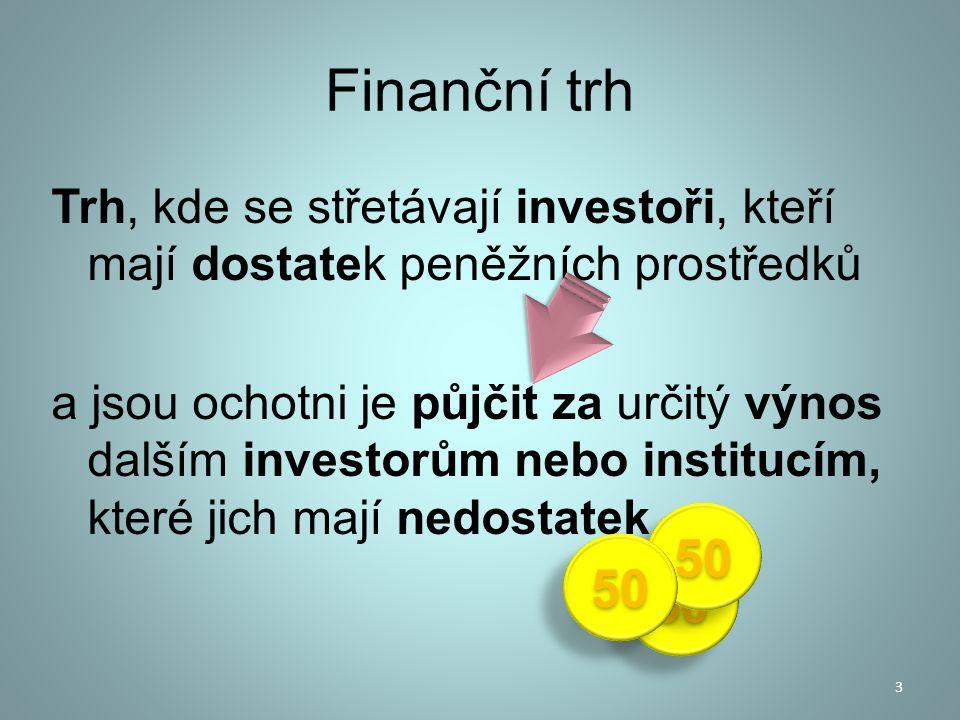 Investovat se může buď : přímo na burze, nebo přes RM systém, nebo zprostředkovaně přes instituce kolektivního investování Investoři mohou být : instituce – pojišťovny, penzijní fondy, firmy atd.
