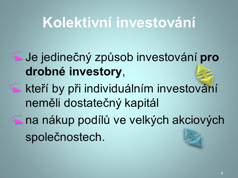 Kolektivní investování Vklady spravují profesionální manažeři a v případě rizika okamžitě kapitál přesouvají.