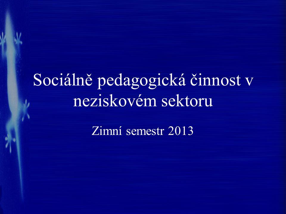 Sociálně pedagogická činnost v neziskovém sektoru Zimní semestr 2013