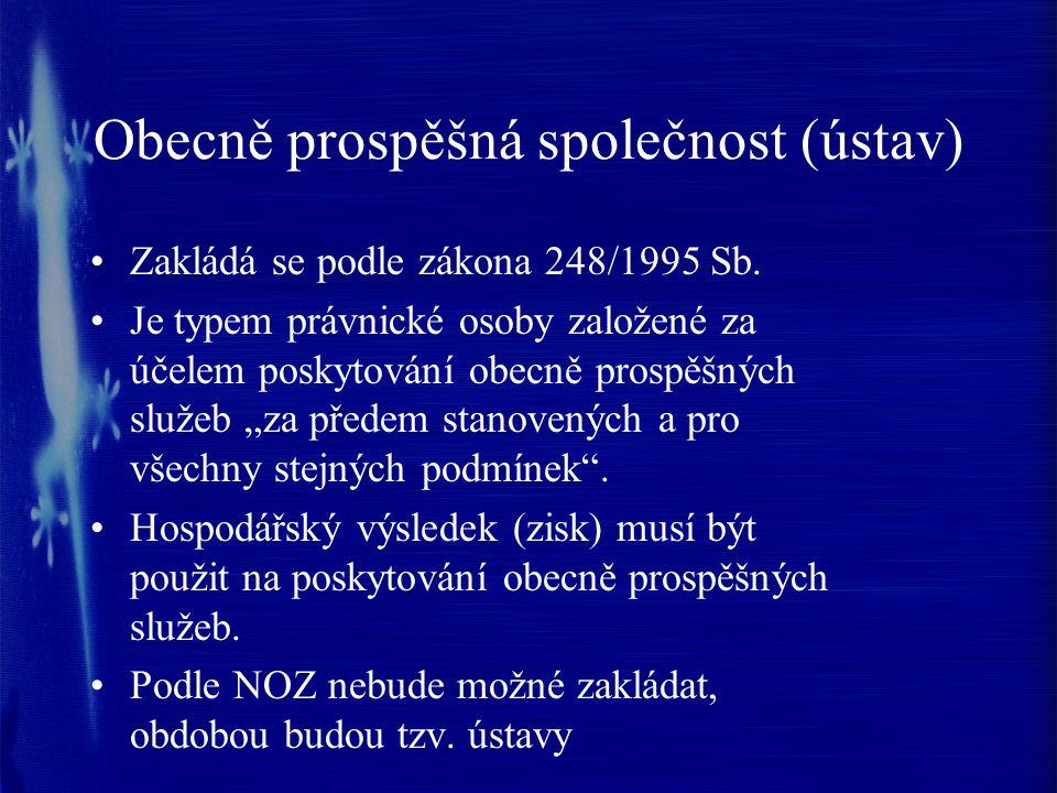 Obecně prospěšná společnost (ústav) Zakládá se podle zákona 248/1995 Sb.