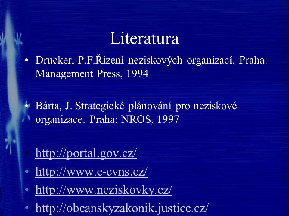 Literatura Drucker, P.F.Řízení neziskových organizací. Praha: Management Press, 1994 Bárta, J. Strategické plánování pro neziskové organizace. Praha: