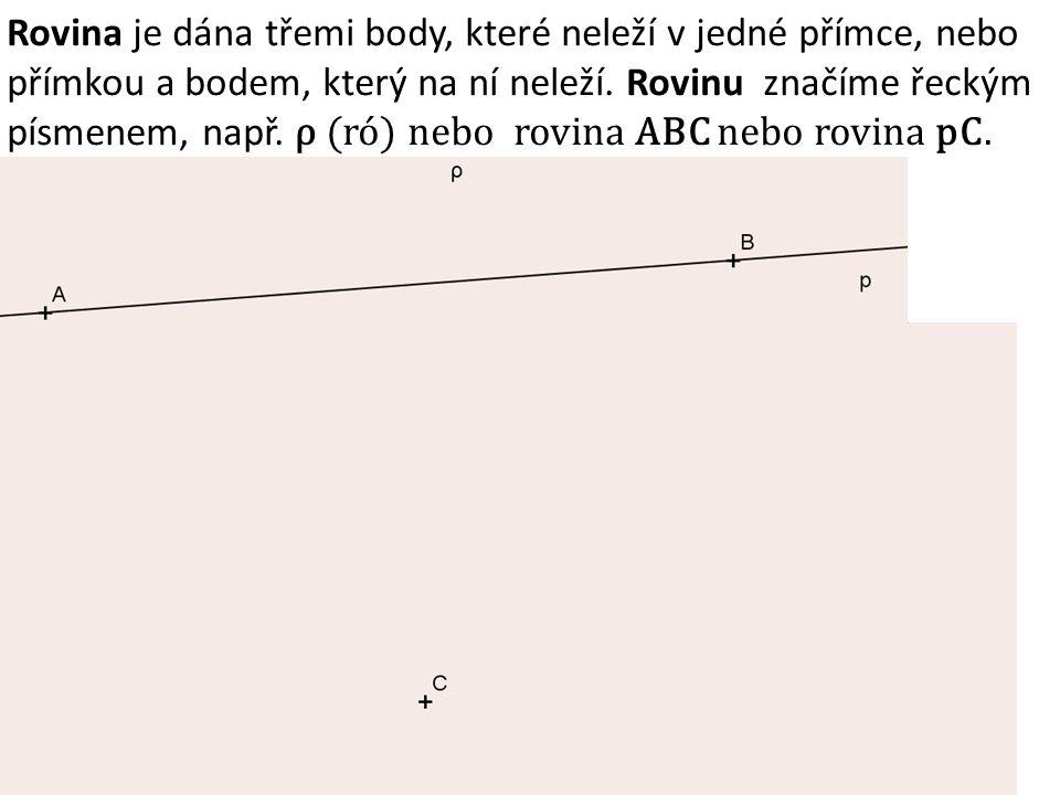 Rovina je dána třemi body, které neleží v jedné přímce, nebo přímkou a bodem, který na ní neleží. Rovinu značíme řeckým písmenem, např. ρ (ró) nebo ro