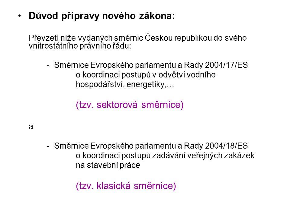 Důvod přípravy nového zákona: Převzetí níže vydaných směrnic Českou republikou do svého vnitrostátního právního řádu: - Směrnice Evropského parlamentu a Rady 2004/17/ES o koordinaci postupů v odvětví vodního hospodářství, energetiky,… (tzv.