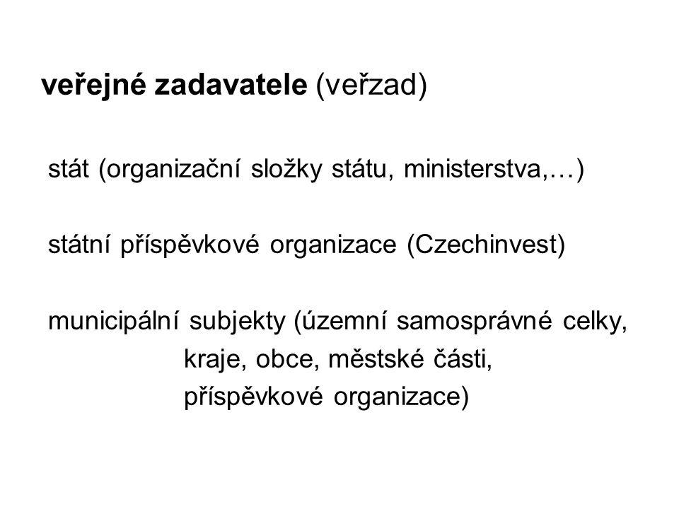 veřejné zadavatele (veřzad) stát (organizační složky státu, ministerstva,…) státní příspěvkové organizace (Czechinvest) municipální subjekty (územní samosprávné celky, kraje, obce, městské části, příspěvkové organizace)