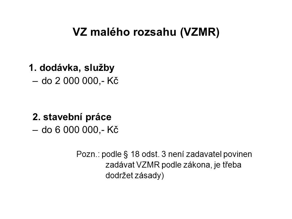 VZ malého rozsahu (VZMR) 1. dodávka, služby –do 2 000 000,- Kč 2.