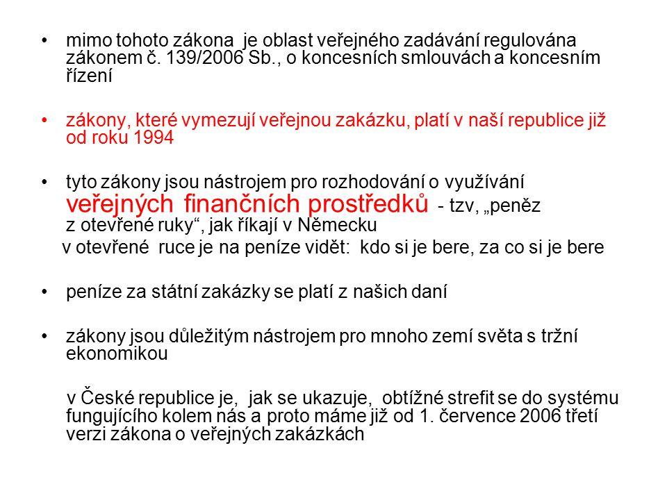 mimo tohoto zákona je oblast veřejného zadávání regulována zákonem č.