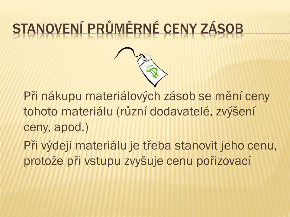 - Při nákupu materiálových zásob se mění ceny tohoto materiálu (různí dodavatelé, zvýšení ceny, apod.) - Při výdeji materiálu je třeba stanovit jeho c