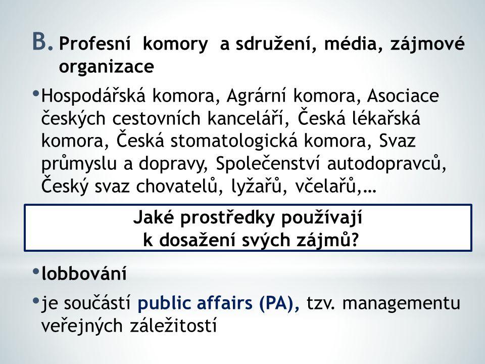 B. Profesní komory a sdružení, média, zájmové organizace Hospodářská komora, Agrární komora, Asociace českých cestovních kanceláří, Česká lékařská kom