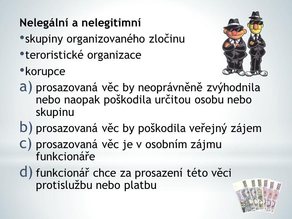 Nelegální a nelegitimní skupiny organizovaného zločinu teroristické organizace korupce a) prosazovaná věc by neoprávněně zvýhodnila nebo naopak poškod