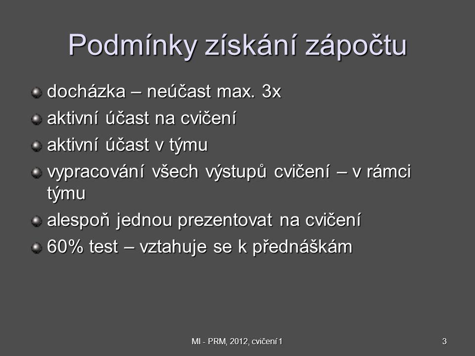3MI - PRM, 2012, cvičení 1 Podmínky získání zápočtu docházka – neúčast max.
