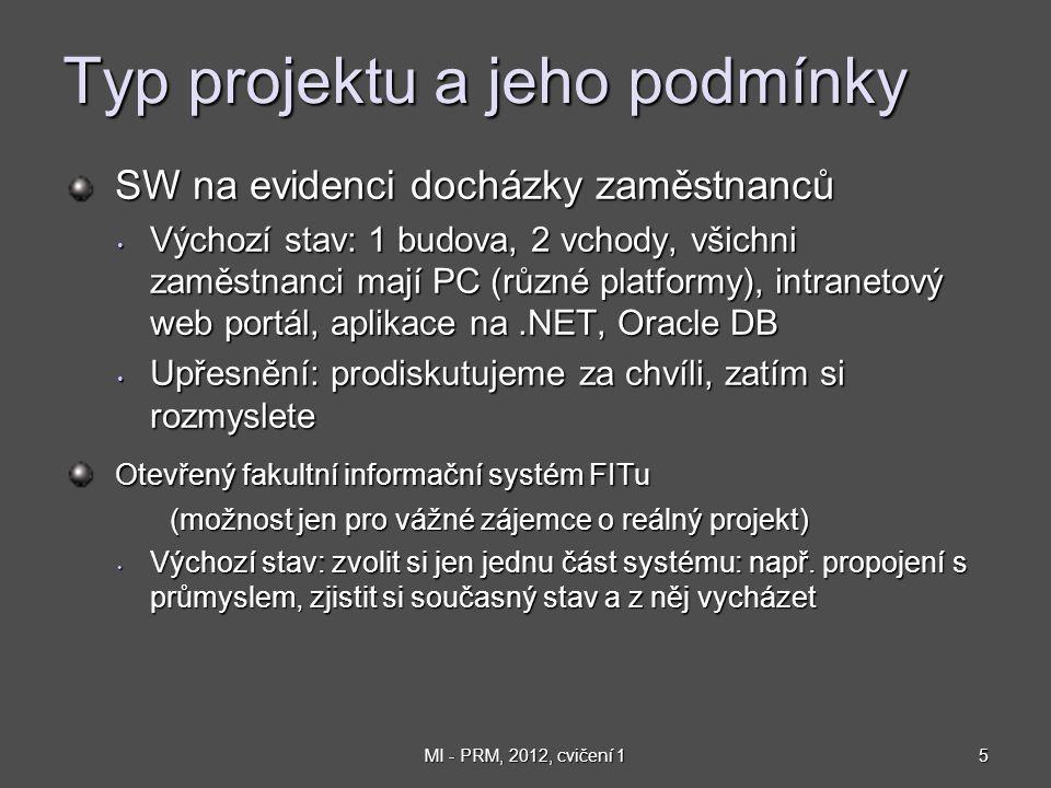 5MI - PRM, 2012, cvičení 1 Typ projektu a jeho podmínky SW na evidenci docházky zaměstnanců SW na evidenci docházky zaměstnanců Výchozí stav: 1 budova, 2 vchody, všichni zaměstnanci mají PC (různé platformy), intranetový web portál, aplikace na.NET, Oracle DB Výchozí stav: 1 budova, 2 vchody, všichni zaměstnanci mají PC (různé platformy), intranetový web portál, aplikace na.NET, Oracle DB Upřesnění: prodiskutujeme za chvíli, zatím si rozmyslete Upřesnění: prodiskutujeme za chvíli, zatím si rozmyslete Otevřený fakultní informační systém FITu Otevřený fakultní informační systém FITu (možnost jen pro vážné zájemce o reálný projekt) Výchozí stav: zvolit si jen jednu část systému: např.