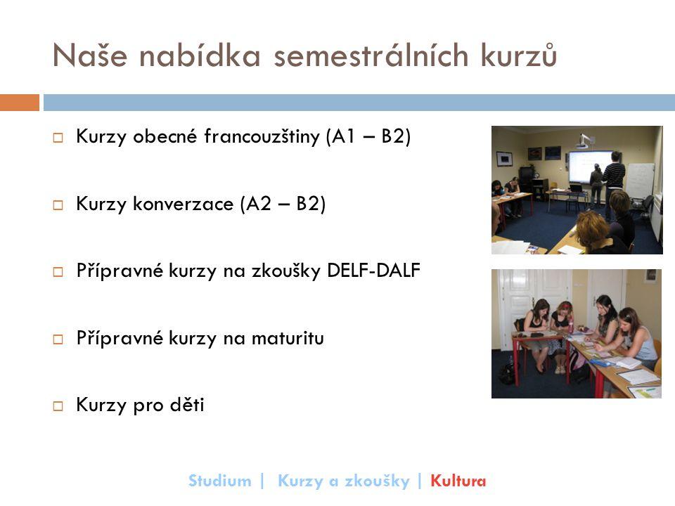 Naše nabídka semestrálních kurzů  Kurzy obecné francouzštiny (A1 – B2)  Kurzy konverzace (A2 – B2)  Přípravné kurzy na zkoušky DELF-DALF  Přípravn