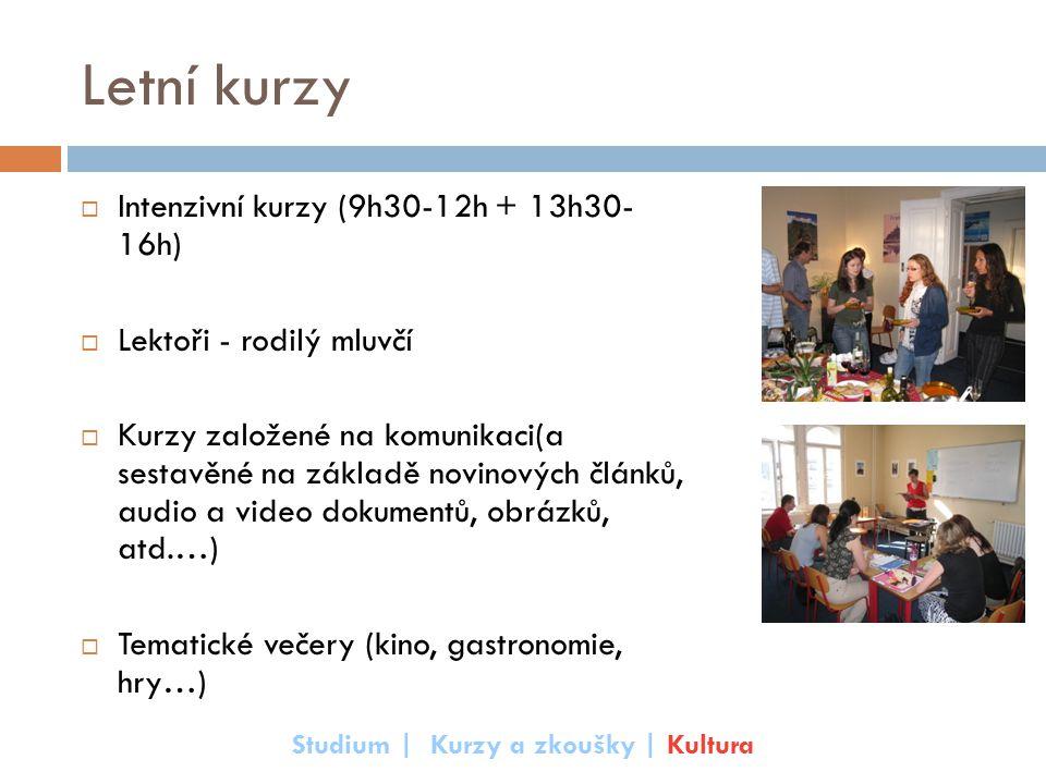 Letní kurzy  Intenzivní kurzy (9h30-12h + 13h30- 16h)  Lektoři - rodilý mluvčí  Kurzy založené na komunikaci(a sestavěné na základě novinových člán