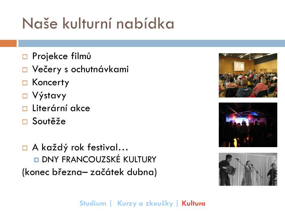 Naše kulturní nabídka  Projekce filmů  Večery s ochutnávkami  Koncerty  Výstavy  Literární akce  Soutěže  A každý rok festival…  DNY FRANCOUZS