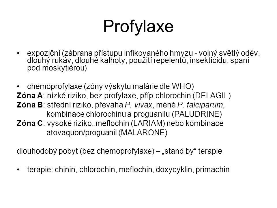 Profylaxe expoziční (zábrana přístupu infikovaného hmyzu - volný světlý oděv, dlouhý rukáv, dlouhé kalhoty, použití repelentů, insekticidů, spaní pod