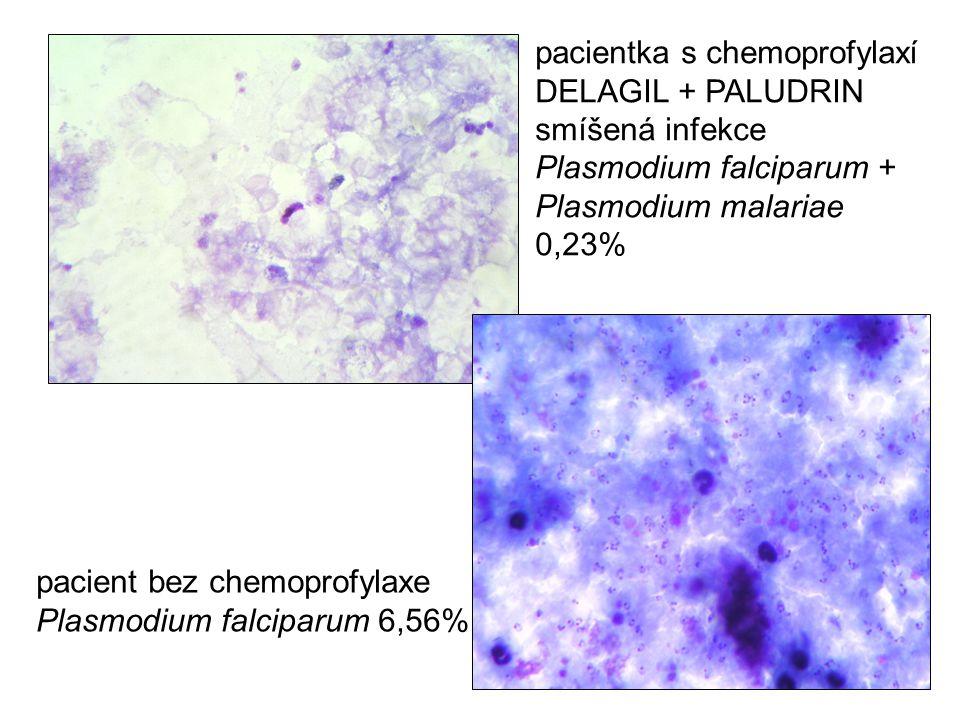 pacientka s chemoprofylaxí DELAGIL + PALUDRIN smíšená infekce Plasmodium falciparum + Plasmodium malariae 0,23% pacient bez chemoprofylaxe Plasmodium
