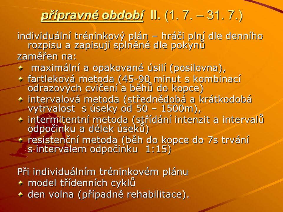 přípravné období II. (1. 7. – 31. 7.) individuální tréninkový plán – hráči plní dle denního rozpisu a zapisují splněné dle pokynů zaměřen na: maximáln