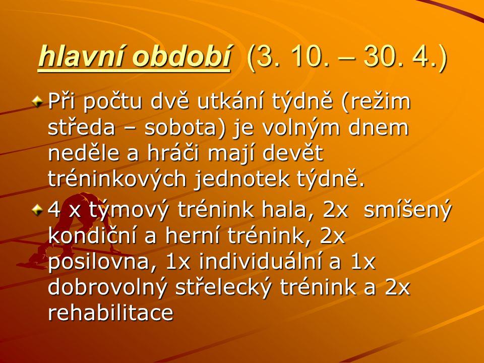 hlavní období (3. 10. – 30. 4.) Při počtu dvě utkání týdně (režim středa – sobota) je volným dnem neděle a hráči mají devět tréninkových jednotek týdn