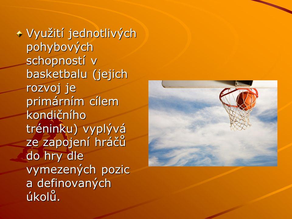 Využití jednotlivých pohybových schopností v basketbalu (jejich rozvoj je primárním cílem kondičního tréninku) vyplývá ze zapojení hráčů do hry dle vy