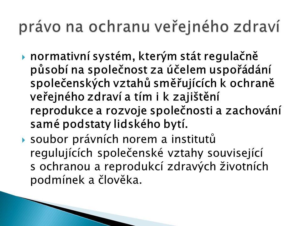  normativní systém, kterým stát regulačně působí na společnost za účelem uspořádání společenských vztahů směřujících k ochraně veřejného zdraví a tím i k zajištění reprodukce a rozvoje společnosti a zachování samé podstaty lidského bytí.