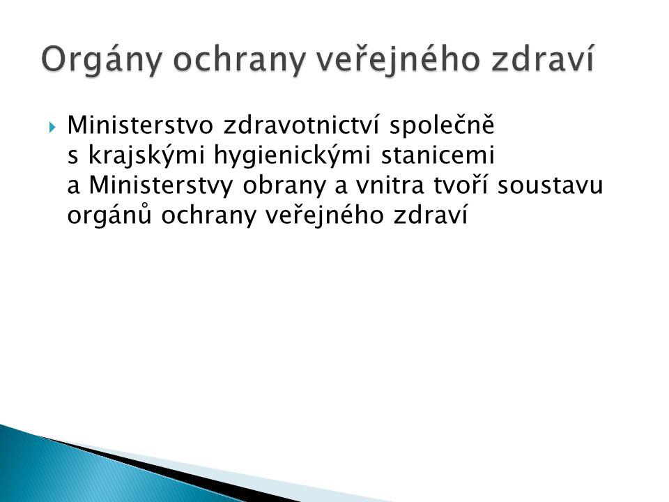  Ministerstvo zdravotnictví společně s krajskými hygienickými stanicemi a Ministerstvy obrany a vnitra tvoří soustavu orgánů ochrany veřejného zdraví