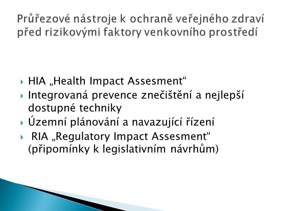 """ HIA """"Health Impact Assesment  Integrovaná prevence znečištění a nejlepší dostupné techniky  Územní plánování a navazující řízení  RIA """"Regulatory Impact Assesment (připomínky k legislativním návrhům)"""
