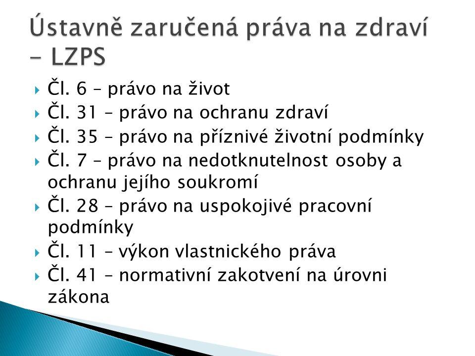  Čl. 6 – právo na život  Čl. 31 – právo na ochranu zdraví  Čl.