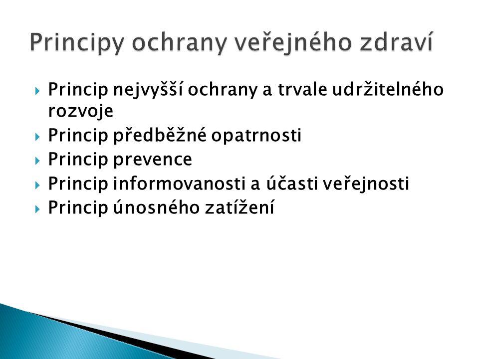  Princip nejvyšší ochrany a trvale udržitelného rozvoje  Princip předběžné opatrnosti  Princip prevence  Princip informovanosti a účasti veřejnosti  Princip únosného zatížení