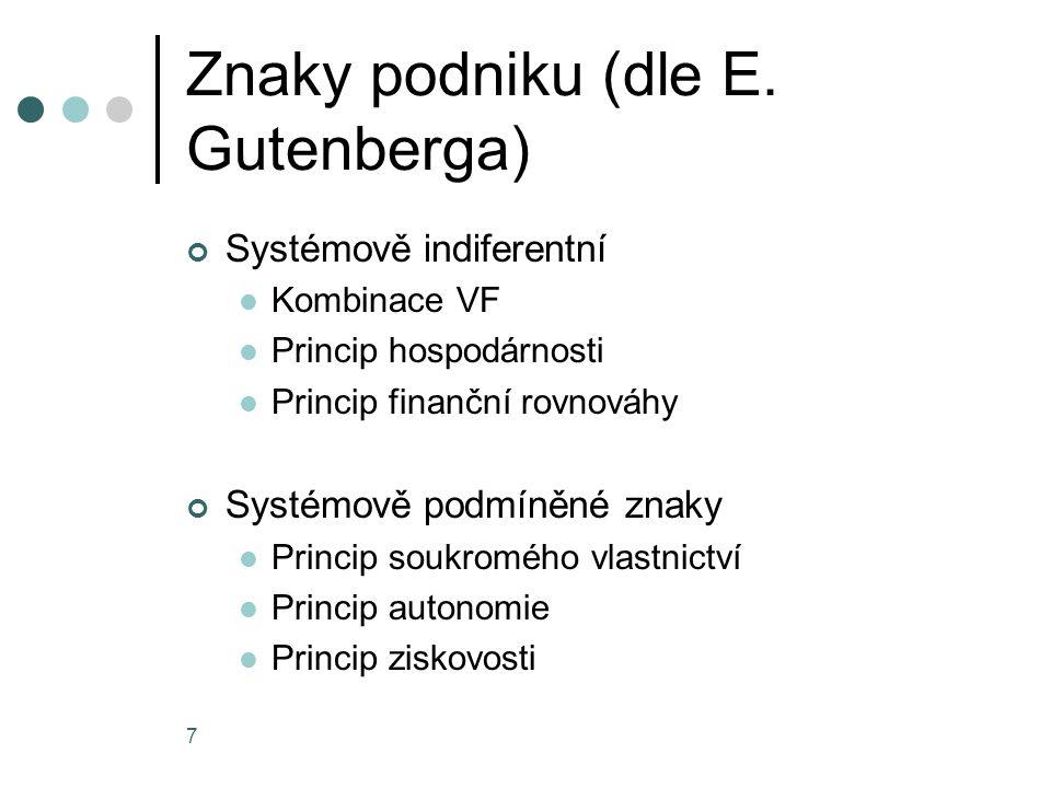 7 Znaky podniku (dle E. Gutenberga) Systémově indiferentní Kombinace VF Princip hospodárnosti Princip finanční rovnováhy Systémově podmíněné znaky Pri