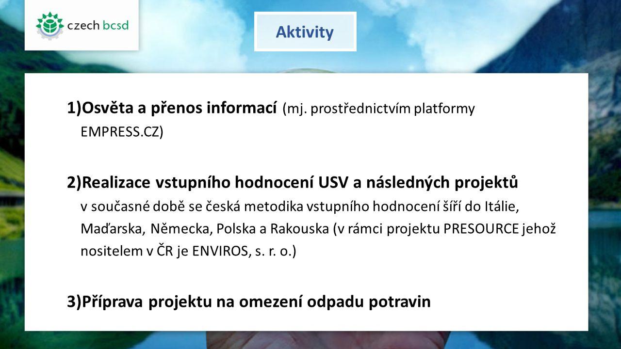 Aktivity 1)Osvěta a přenos informací (mj. prostřednictvím platformy EMPRESS.CZ) 2)Realizace vstupního hodnocení USV a následných projektů v současné d
