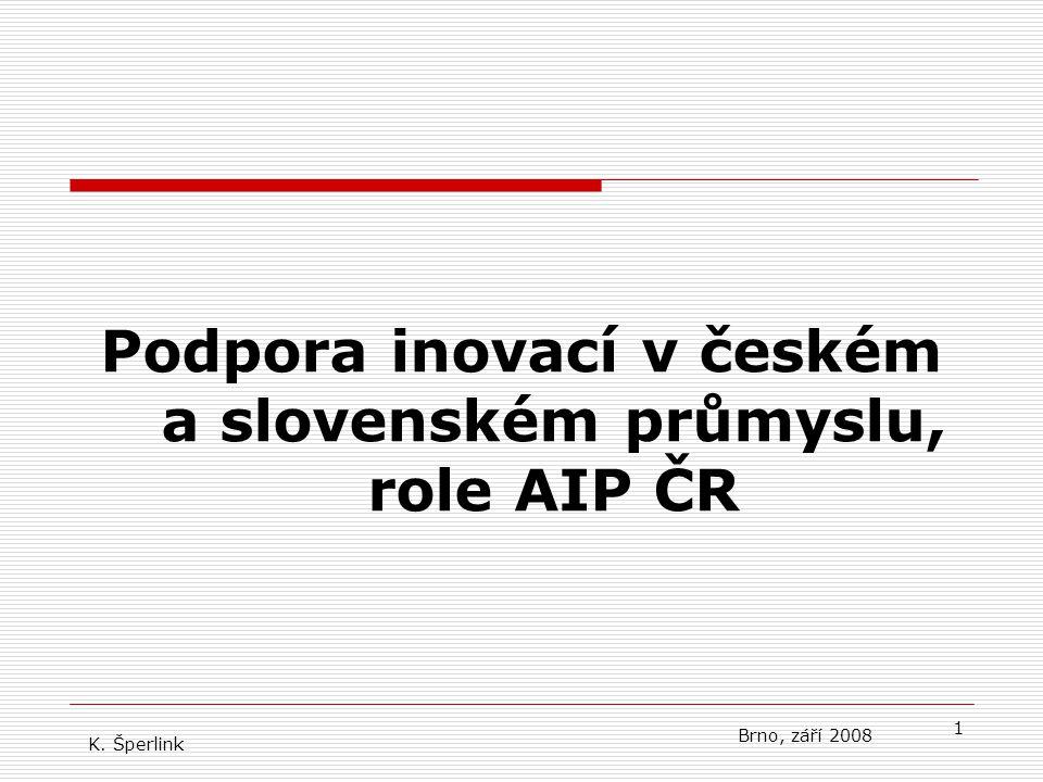 1 Podpora inovací v českém a slovenském průmyslu, role AIP ČR K. Šperlink Brno, září 2008