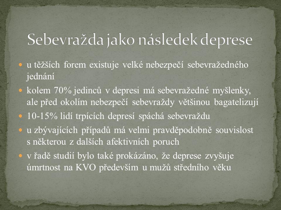 u těžších forem existuje velké nebezpečí sebevražedného jednání kolem 70% jedinců v depresi má sebevražedné myšlenky, ale před okolím nebezpečí sebevr