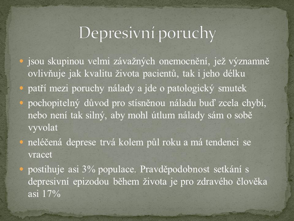 jsou skupinou velmi závažných onemocnění, jež významně ovlivňuje jak kvalitu života pacientů, tak i jeho délku patří mezi poruchy nálady a jde o patol