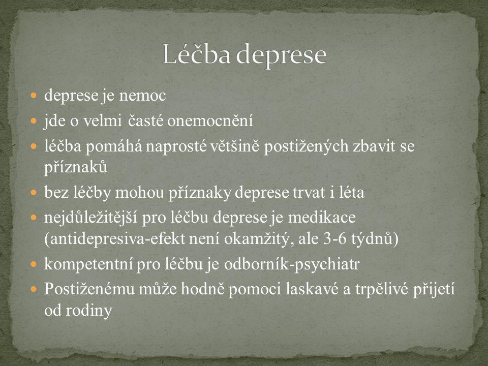 deprese je nemoc jde o velmi časté onemocnění léčba pomáhá naprosté většině postižených zbavit se příznaků bez léčby mohou příznaky deprese trvat i lé