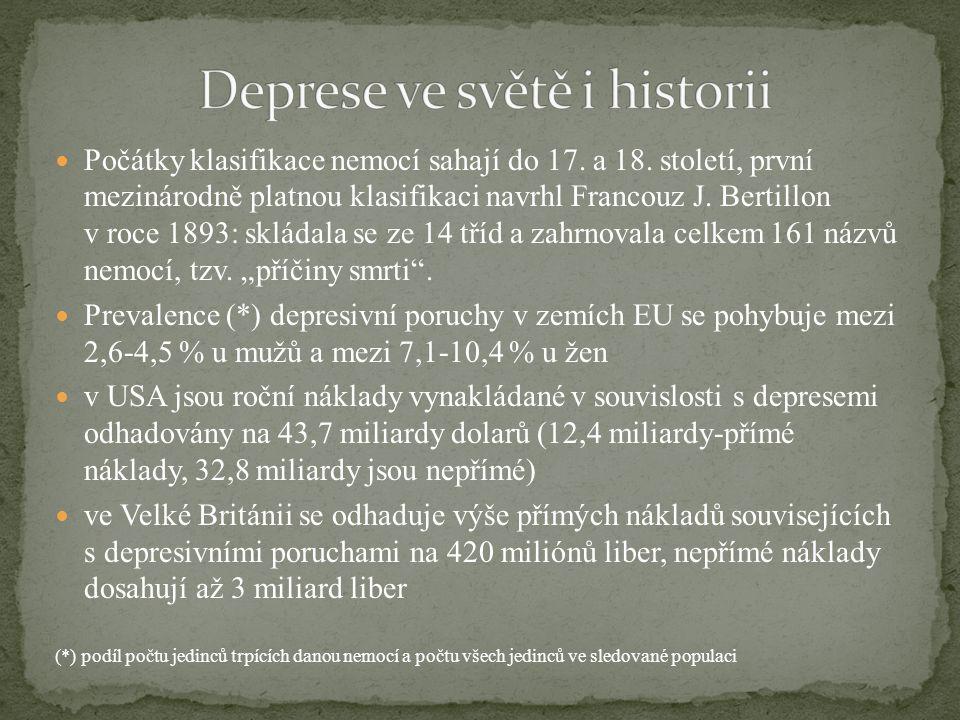 Počátky klasifikace nemocí sahají do 17. a 18. století, první mezinárodně platnou klasifikaci navrhl Francouz J. Bertillon v roce 1893: skládala se ze