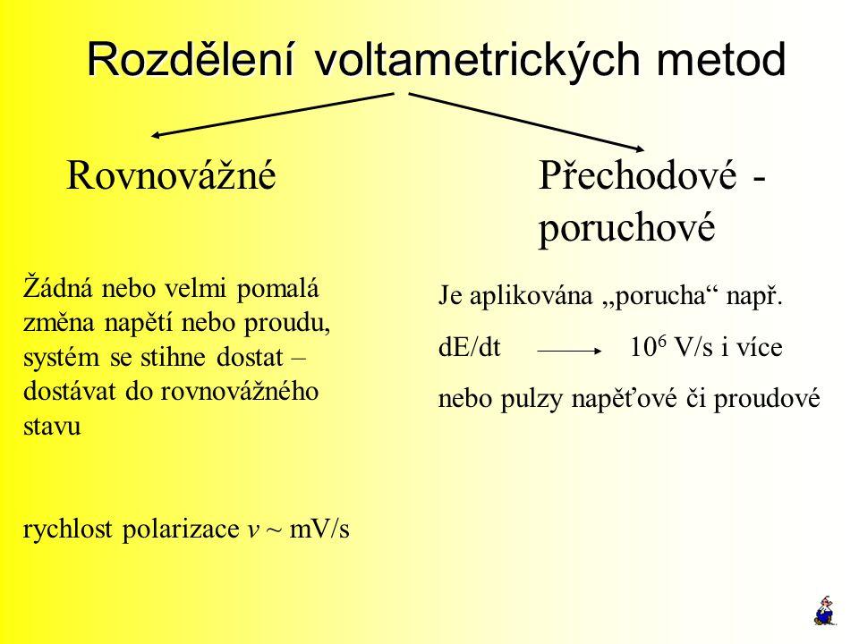 Rozdělení voltametrických metod RovnovážnéPřechodové - poruchové Žádná nebo velmi pomalá změna napětí nebo proudu, systém se stihne dostat – dostávat