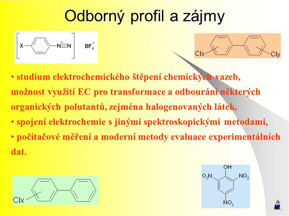 Odborný profil a zájmy studium elektrochemického štěpení chemických vazeb, možnost využití EC pro transformace a odbourání některých organických polut