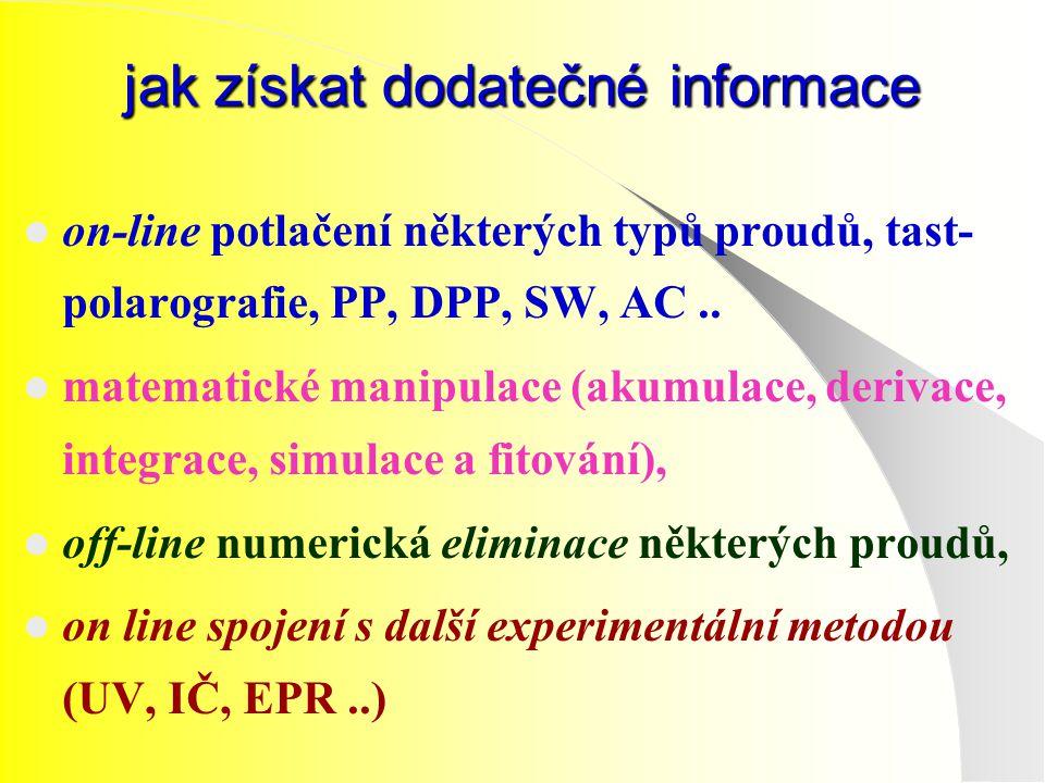 jak získat dodatečné informace on-line potlačení některých typů proudů, tast- polarografie, PP, DPP, SW, AC.. matematické manipulace (akumulace, deriv