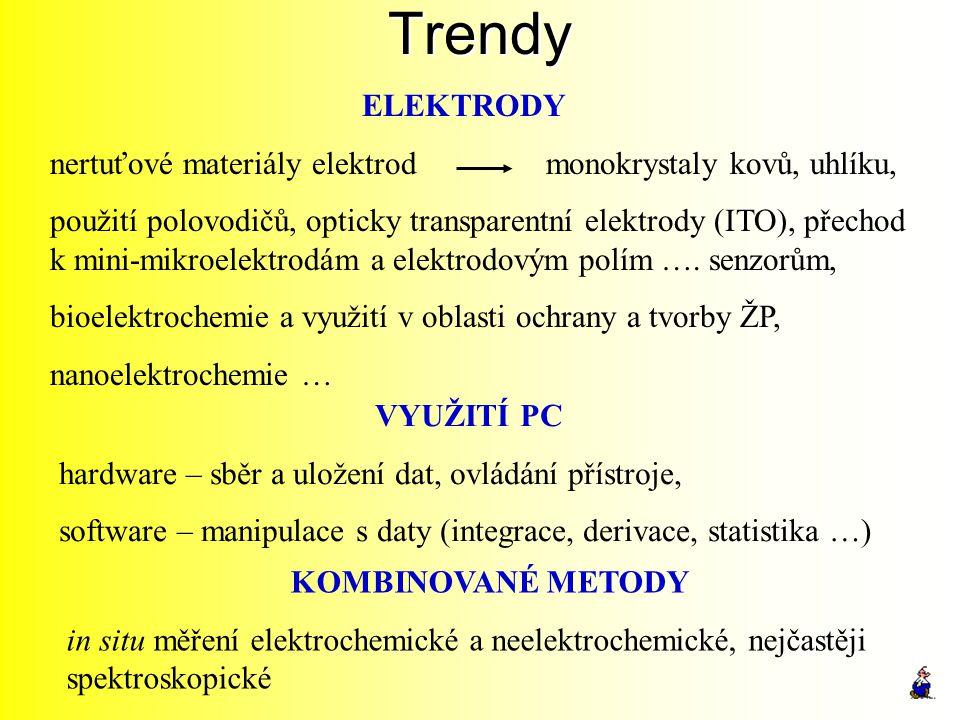 Trendy ELEKTRODY nertuťové materiály elektrod monokrystaly kovů, uhlíku, použití polovodičů, opticky transparentní elektrody (ITO), přechod k mini-mik