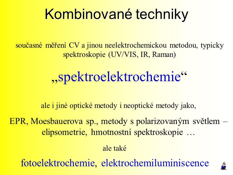 "Kombinované techniky současné měření CV a jinou neelektrochemickou metodou, typicky spektroskopie (UV/VIS, IR, Raman) ""spektroelektrochemie"" ale i jin"