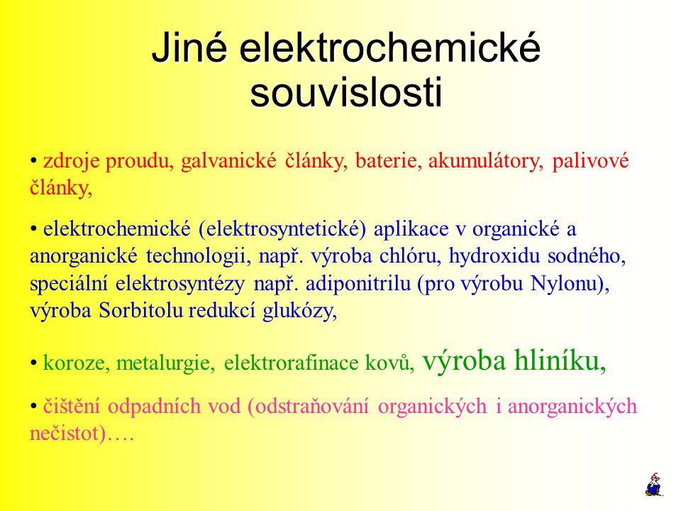 Jiné elektrochemické souvislosti zdroje proudu, galvanické články, baterie, akumulátory, palivové články, elektrochemické (elektrosyntetické) aplikace