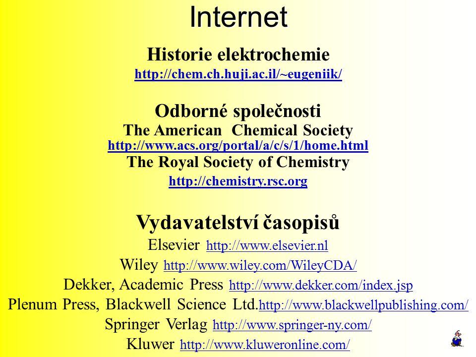 Internet Historie elektrochemie http://chem.ch.huji.ac.il/~eugeniik/ Odborné společnosti The American Chemical Society http://www.acs.org/portal/a/c/s