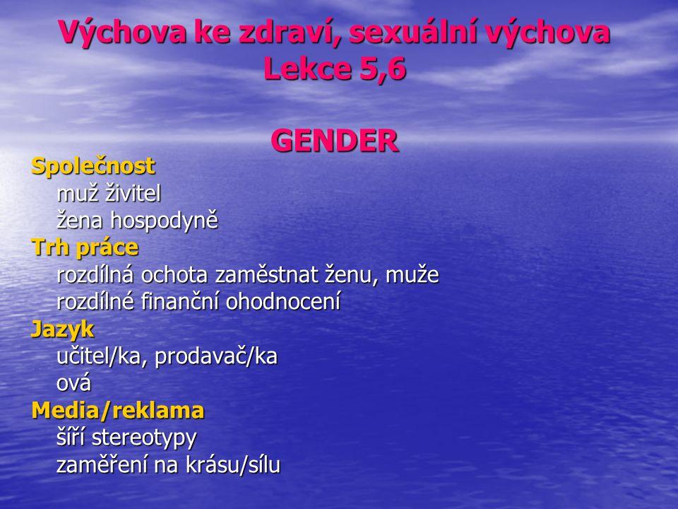 Výchova ke zdraví, sexuální výchova Lekce 5,6 GENDER Společnost muž živitel žena hospodyně Trh práce rozdílná ochota zaměstnat ženu, muže rozdílné fin