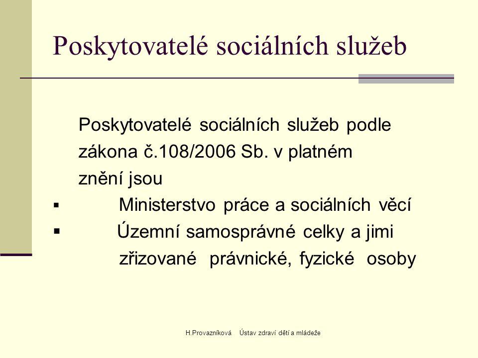 H.Provazníková Ústav zdraví dětí a mládeže Poskytovatelé sociálních služeb Poskytovatelé sociálních služeb podle zákona č.108/2006 Sb.