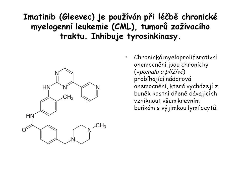 Imatinib (Gleevec) je používán při léčbě chronické myelogenní leukemie (CML), tumorů zažívacího traktu.