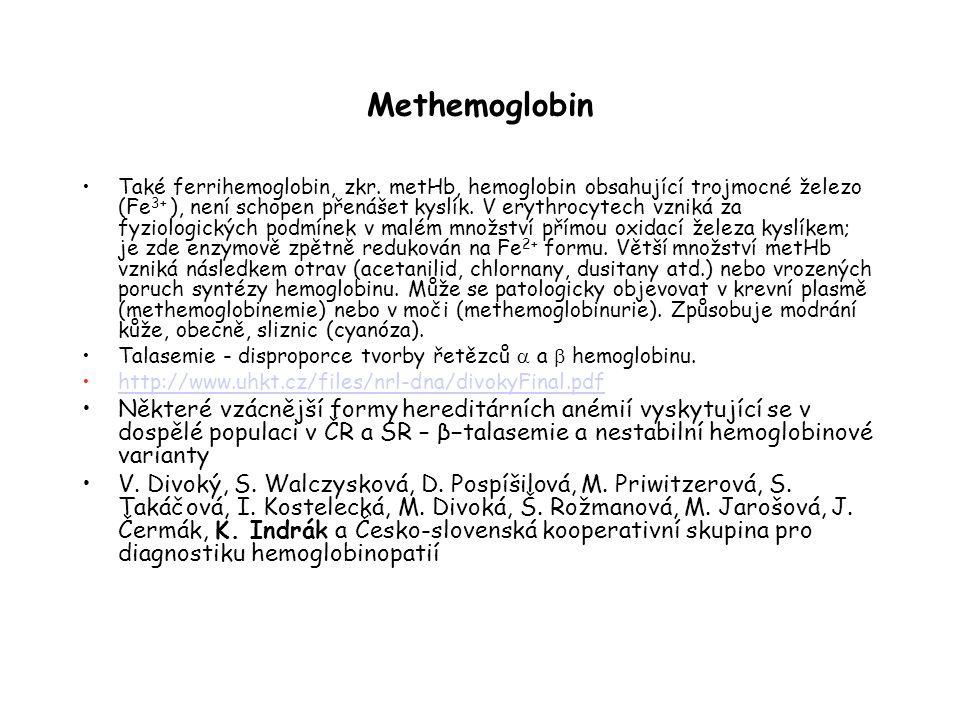 Methemoglobin Také ferrihemoglobin, zkr.