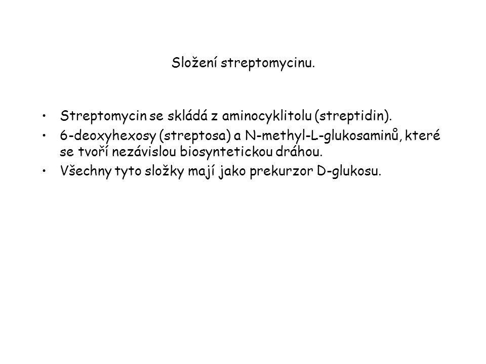 Složení streptomycinu.Streptomycin se skládá z aminocyklitolu (streptidin).