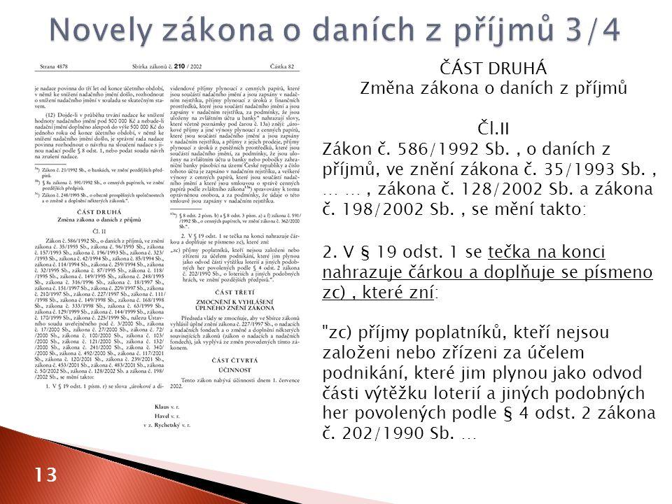 ČÁST DRUHÁ Změna zákona o daních z příjmů Čl.II Zákon č.