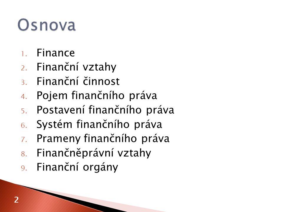 1. Finance 2. Finanční vztahy 3. Finanční činnost 4. Pojem finančního práva 5. Postavení finančního práva 6. Systém finančního práva 7. Prameny finanč