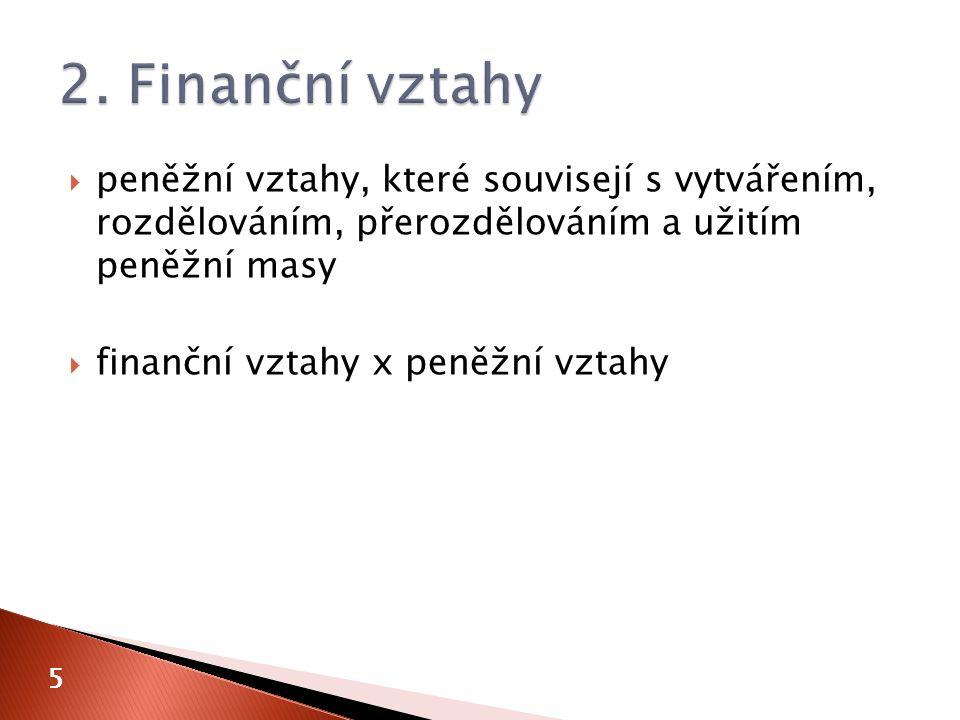  peněžní vztahy, které souvisejí s vytvářením, rozdělováním, přerozdělováním a užitím peněžní masy  finanční vztahy x peněžní vztahy 5